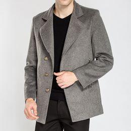 Wholesale Long Dark Green Coat - Autumn winter 2017 new men's wear long style woolen coat winter clothing warm wool coat business casual warm coat 02#