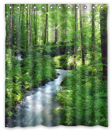 Wholesale Forest Stream - Customs 36 48 60 66 72 80 (W) x 72 (H) Inch Shower Curtain Clean Stream And Green Forest Polyester Fabric Bath Curtain