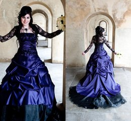 Wholesale Victorian Corset Purple - Sexy Fall Victorian Gothic Plus Size A Line Wedding Dresses Sexy Purple and Black Ruffles Satin Corset Strapless Lace Bridal Gowns