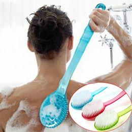 Wholesale Shower Feet - Wholesale- Bath Brush Skin Massage Health Care Shower Reach Feet Back Rubbing Brush With Long Handle Massage Clean Bath Accessories