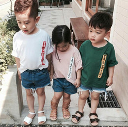 Wholesale Kid Korea T Shirt - Ins Summer Korea Children Cotton T-shirt Letters Printed Short Sleeve Tops Tee Kids Children Casual Tshirts 3 Colors W008