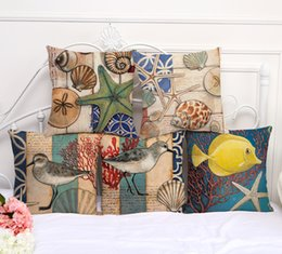 Wholesale Bird Throw Pillows - 16 Styles Mediterranean Style Cushion Cover Sea Bird Fish Throw Pillow Case Decorative Coral Almofada Beach Decor Shell Cojines