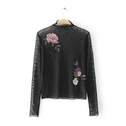 Wholesale Transparent Chiffon Shirt - 2017 new women embroidery appliques pullover black blouses women sexy transparent roupas femininas blusas slim shirt LS1084
