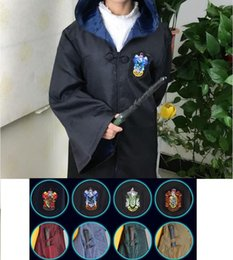 Wholesale Harry Potter Black - Free Shipping Harry Potter Cosplay Hogwarts Robe Cloak Gryffindor Slytherin Hufflepuff Ravenclaw 4 House 10 Sizes Can Chose