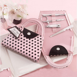Wholesale Nails Birthday - Pink Polka Purse Manicure Set Handbag Pedicure Set Wedding Favor Gifts Baby Shower Favors Nail Clippers Kit+DHL Free Shipping