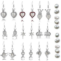 Wholesale Pearl Gift Jewelry Prices - 37 Styles Pearl Oyster Locket Earrings for Women Fresh Water Pearl Charm Earrings Christmas Gift Jewelry Bulk Price