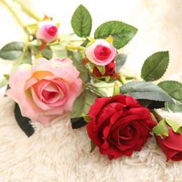 Wholesale D H Wholesalers - 30cm H 8cm D Wholesale 50pcs Free Shipping Charming Artificial Wedding Bouquets Spring Rose Flowers Floral Wedding Home Hotel Desk Decoratio