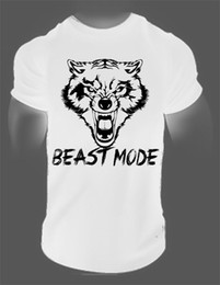 Wholesale men fitness apparel - BEAST MODE T-Shirt Gymmer fitness clothes bodybuilding workout apparel tribal wolf