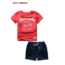 Wholesale Kids Cartoon Shirts - 2017 Summer 2-6 Years Kids Baby Boys Sport Brand Boys Clothing Set 100% Cotton Cartoon T-shirts And Shorts Children Clothes