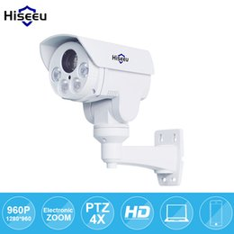 Wholesale Waterproof Ptz Dome Ip Camera - IP Camera PTZ Bullet 4X Zoom 960P IP Speed dome Project Night Vision Outdoor Waterproof IP66 IRCUT ONVIF P2P ONVIF POE Hiseeu