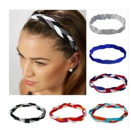 Wholesale Silicone Hair Scrunchies - 2017 New Softball Baseball Sports Braided Headbands Sweat Silicone Non Slip Scrunchy Girl Soccer Yoga Elastic Hair Bands