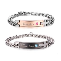 """Wholesale Unique Couplings - Unique Gift for Lover Couple - """"True Love"""" Couple Bracelets Titanium Stainless Steel Bracelet Bangle For Women Men Jewelry"""