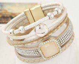 Wholesale Rhinestone Charm Sliders - New Gem Rhinestone Magnetic Leather Bracelets Bangles Bohemian Handmade Multilayer Wrap jewelry Women gift pulseira