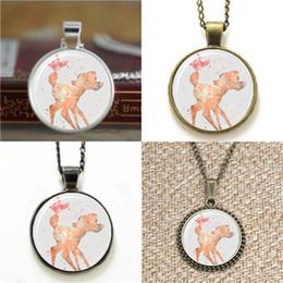 Wholesale Deer Art - 10pcs deer Art Print Glass Photo Necklace keyring bookmark cufflink earring bracelet