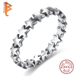 Wholesale Trail Wedding - BELAWANG 925 Sterling Silver Rings Star Trail Stackable Finger Ring For Women Lovers Authentic Jewelry Mother's Day Gift Wholesale #678