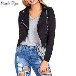 Wholesale Womens Wholesale Coat - Wholesale- SIF 2016 Womens Sexy Winter Slim Biker Motorcycle Leather Jacket Women Basic Coats Jacket Punk Suede Clothing Coat Outwear