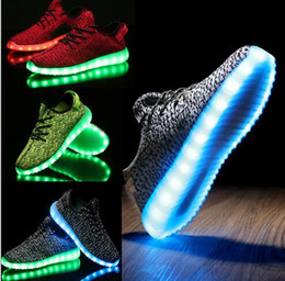 Wholesale Party Dots Led Lights - Hot LED Shoes light colorful Flashing with USB Charge Unisex Fluorescent Couple Shoes Party and Sport Casual Shoes for Adult With Real Box