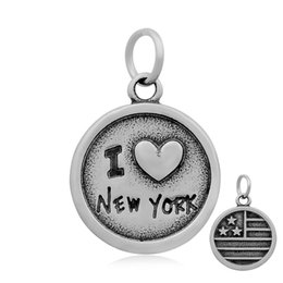 Wholesale city hearts - Fashion Vintage Style I Love Cities Heart with Flag Antique Silver Pendant DIY Stainless Steel Jewelry