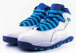 Wholesale Flag Packs - 2016 NEW cheap 10 NYC Charlotte Hornets blue men women basketball shoes 10s sports City Pack CHI Chicago Flag size 36-47
