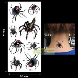 Wholesale Red Eye Tattoo - Wholesale- New 1PC Fashion Women Men Waterproof Temporary Tattoo Simulation Removable Vivid Body Art 3D-04 Red Yellow Spider