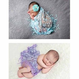Wholesale Lace Wraps For Baby - Newborn Baby Kid Towel Lace Flower Wraps Swaddle For Girl Infant For Kid Girl Blanket 40*140CM Photography Props 1st Birthday Party