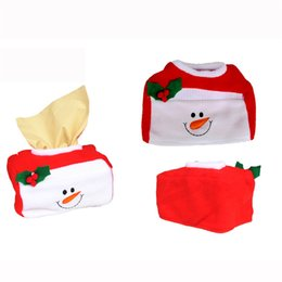 Wholesale Christmas Tissue Box Cover - Wholesale-Fashion Style Christmas Tissue Box Cover Bags Decoration Home Party Santa Claus Tissue Boxes #10 2016 Gift 1pc
