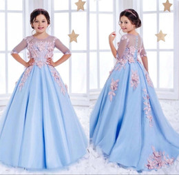 Wholesale Special Organza Wedding Dresses - Half Sleeve Lace Flower Girl Dresses For Weddings Light Sky Blue Crystal Kids Ball Gowns Special Occasion Communion Dress