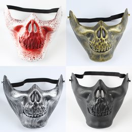 Wholesale Funny Face Movie - Hot Funny Toy Unisex Retro 3D Halloween Half Face Skull Skeleton Protect Gear CS Mask Guard