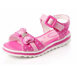 Wholesale Princess Shoes - Girls Sandals Summer 2017 New Dot Bow Kids Shoes For Fashion Princess