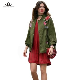 Wholesale Peacocks Fashion - Wholesale- Bella Philosophy 2017 spring Peacock peony embroidery loose A word version coat jacket Army green