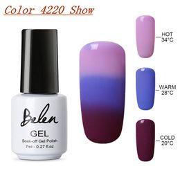 Wholesale Long Finger Nails - glue white Belen 10pcs Temperature Change Color UV Gel Long Lasting Manicure Soak-off lacquer Nail Glue Nail Polish Finger Art Set Base Top