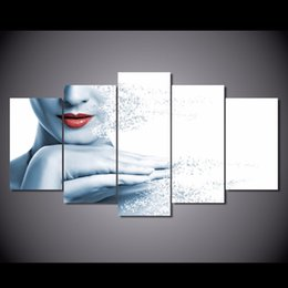 5 Pz / set Incorniciato HD Stampato Labbra Donna Disintegrando Picture Wall Art Canvas Print Decor Poster Canvas Olio su tela supplier lips wall decor da decorazione della parete delle labbra fornitori