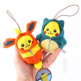 Wholesale Pokemon Key - New Arrival Pikachu Plush Dolls Toys Mini Poke Go Cartoon Keychain Pendant 9cm Stuffed Animals Plush Toys Keyring Key Chain Gifts