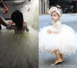 Wholesale Infant Pageant Dresses Sleeves - Baby Infant Toddler Pageant Clothes Pricness Flower Girl Dress Long Sleeve Lace TuTu Dress Ivory Champagne Flower Girl Dress Bridal Party