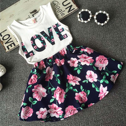 Wholesale Wholesale Pretty Girls Outfits - 2017 Summer children clothing suit Girls Pretty Flowered LOVE Tops + Flower skirt 2pcs set kids clothing baby girls clothes Outfits A509