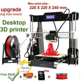 Wholesale 3d printers wholesale - Upgrade desktop 3D Printer Prusa i5 Size 220*220*240 mm Big main board Acrylic Frame LCD with one Roll Filament & 16G TF Card as gift