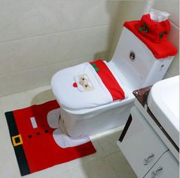 déco décorations de noël en gros Promotion Gros-3Pcs Fantaisie Père Noël Couverture de siège de toilette Tapis de bain Tapis Décoratif Décorations de Noël Navidad Deco