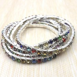 Wholesale Stretchy Rhinestone Bracelets - Free Shipping One Tier Multicolor Crystal Stretchy Bangle Rhinestone Bracelets Wholesale 100pcs