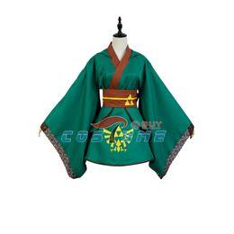 Wholesale Kimono Cosplay Female - The legend of Zelda Hero Link Cosplay Costume Yukata Kimono Robe Green Version