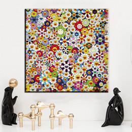ZZ1496 Murakami Takashi Works Sun Flowers (группа II) B Печать масляной живописи на картине из хлопкового холста Абстрактная стена Художественные работы от