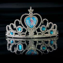 Wholesale Heart Pageant Crowns Tiaras - Children anna elsa tiara dress Elsa Anna princess crowns hearts tiara baby party hair accessories pageant hairbands gift