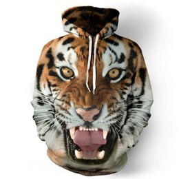 Wholesale Womens Tiger Tops - 3D Animal Print Tiger Hoodie Mens Womens Sweater Sweatshirt Pullover Fashion Autumn Winter Tops Coat Outerwear