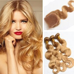 Wholesale Strawberry Blonde Hair Color Extensions - Strawberry Blonde #27 Human Hair Bundles With Lace Closure 4x4 Brazilian Body Wave Hair Extension With Top Closure 4Pcs Lot