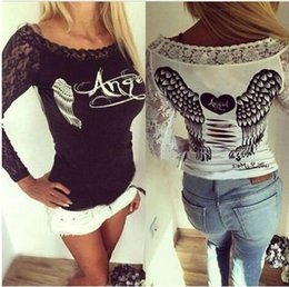 Wholesale Blouse Hearts - 2017 new fashion Women Tshirt Tops Fashion angel wings heart print Slim Long Sleeve club T-Shirt Lace stitching hole Bottom shirt Blouses