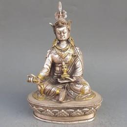 Wholesale Vintage Opening Ornament - Elaborate Chinese Vintage Tibetan Silver Gilt Tibetan Buddhism Statue -- Green Tara Buddha