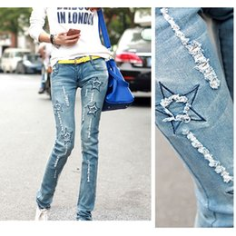 Wholesale New Star Jeans - Wholesale- New Spring Autumn Women'S Star Patchwork Pencil Pants Women Jeans Denim Pants Hole Fashion Skinny Jeans Women Trousers