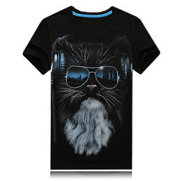 Wholesale 3d Mens Fashion Glasses - 2017 New 3D Shirt Creative Personality Glasses Male Cat New Spring Foreign Korean Tide Mens Cotton Summer S-6XL Free shipping