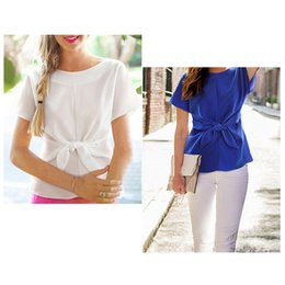 Wholesale Upper Garment Lady - Wholesale-Ladies round collar T-Shirts Short Sleeve Chiffon unlined upper garment bow Tops Tees female Clothing s-xxl size
