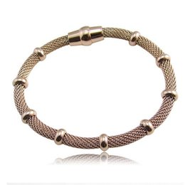 Wholesale Cable Chain Bracelets - Wholesale- High quality Three Color stainless steel cable mesh bracelet chain bracelet for men or women