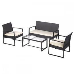 Wholesale Outdoor Patio Sofa Set Sectional Furniture Wicker Rattan Deck Black